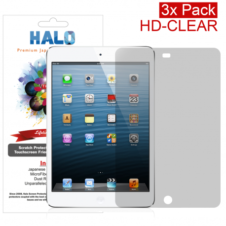 Halo Screen Protector Film High Definition (HD) Clear (Invisible) for Apple Ipad Mini 4 Ipad Mini Retina (3 Pack)