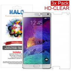 Halo Screen Protector Film Invisible (Clear) for Samsung Galaxy Note 4  (3-Pack) - Premium Japanese Screen Protectors