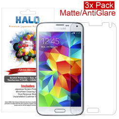 Halo Screen Protector Film Clear Matte (Anti-Glare) for Samsung Galaxy S5  (3-Pack) - Premium Japanese Screen Protectors