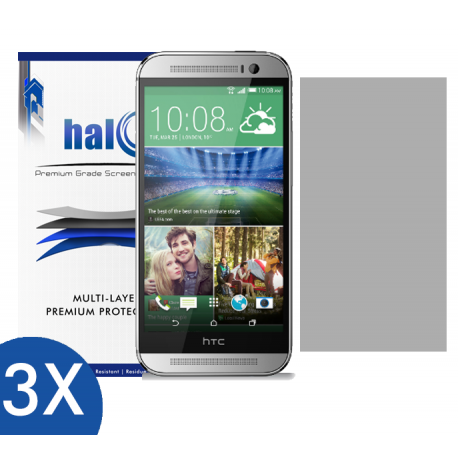 Halo Screen Protector Film Invisible Clear  (Invisible) for HTC One M8 (3-Pack) - Premium Japanese Screen Protectors