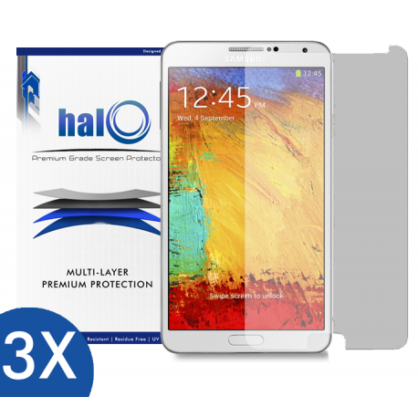 Halo Screen Protector Film Invisible (Clear) for Samsung Galaxy Note 3  (3-Pack) - Premium Japanese Screen Protectors