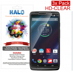 Halo Screen Protector Film Invisible Clear  (Invisible) for Motorla Droid Turbo (3-Pack) - Premium Japanese Screen Protectors