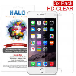 Halo Screen Protector Film High Definition (HD) Clear (Invisible) for iPhone 6 Plus [3 Pack] - Lifetime Replacement Warranty