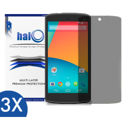 Halo Screen Protector Film High Definition (HD) Clear (Invisible) for LG Google Nexus 5 (3-Pack)  - Premium Japanese Screen Protectors
