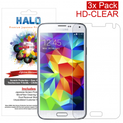 Halo Screen Protector Film Invisible Clear  (Invisible) for Samsung Galaxy S5 (3-Pack) - Premium Japanese Screen Protectors